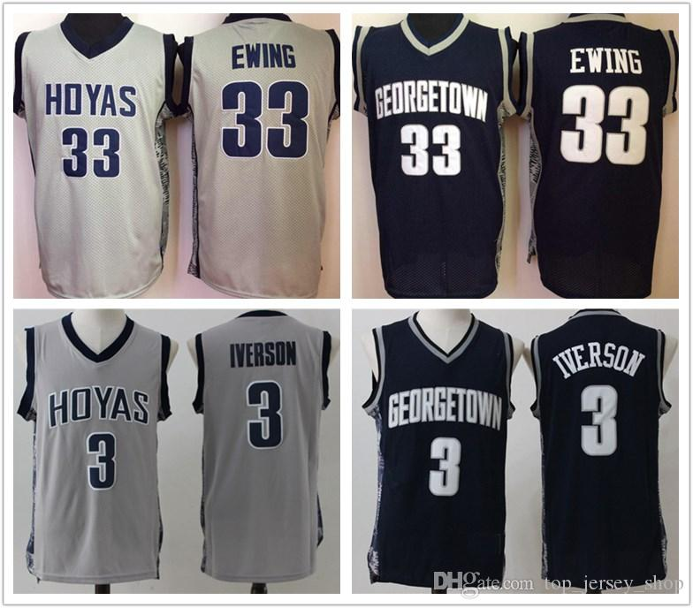 0b1df6378a7e 2019 NCAA Georgetown Hoyas Jersey 3 Allen Iverson 33 Patrick Ewing Blue  Black White Stitched Basketball Jerseys Cheap From Top jersey shop
