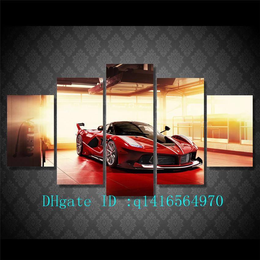 2018 Red Luxury Sports Car,Canvas Prints Wall Art Oil Painting Home ...