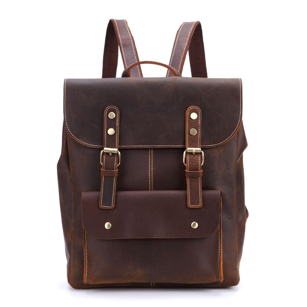 Vintage Crazy Horse Leather Backpack Men Genuine Leather 14 Laptop Backpack  Brown Cow School Rucksack Bag  Q1731 Backpacks For Kids Backpack With  Wheels ... c9457d6d19cc