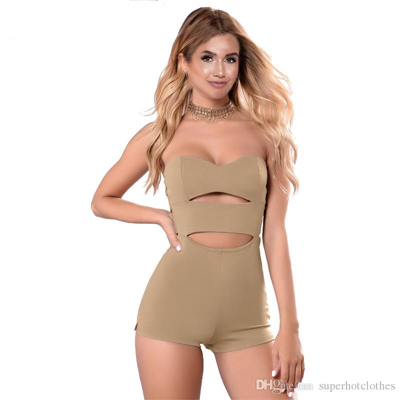 f95d262e0b74 2019 2018 Summer Cut Out Strapless Rompers Womens Jumpsuit Sexy Bodycon  Short Jumpsuit Bodysuit Slim Romper From Superhotclothes
