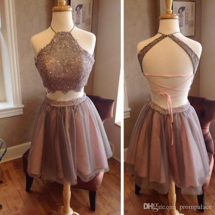 714a5a126db Hot Sales Halter Homecoming Dresses Sexy Open Back Tulle Lace Short Prom  Dresses With A Line Cocktail Dress For Sale Dress Sexy From Prompalace