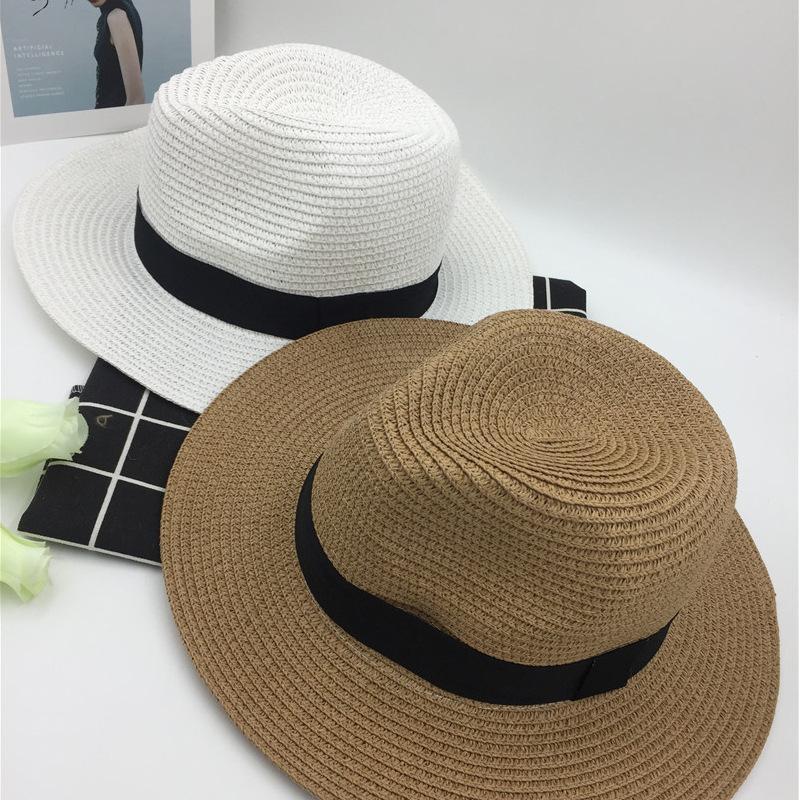 84064f09f3878 Compre Verão Dobrável Preto Eaves Brancos Homens E Mulheres Parenting Chapéu  De Palha Panamá Chapéu Formal Sol Você Praia De Areia De Vineer