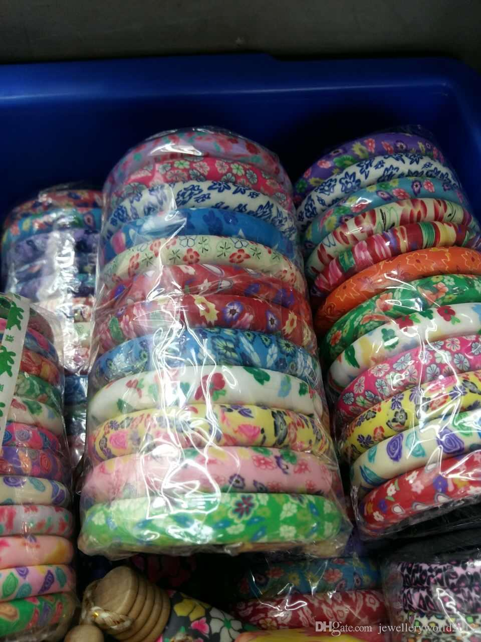 1.2CM wide Colorful flower pattern soft clay Bangle colorful beads hand string bracelet mix color