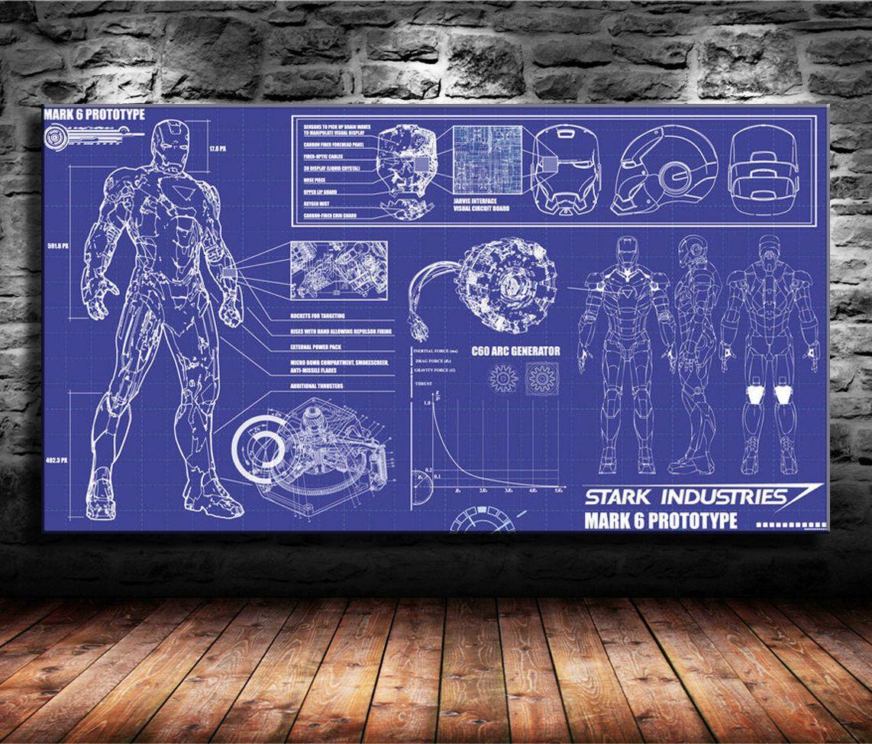 gro handel iron man stark industries blueprint hauptdekor. Black Bedroom Furniture Sets. Home Design Ideas