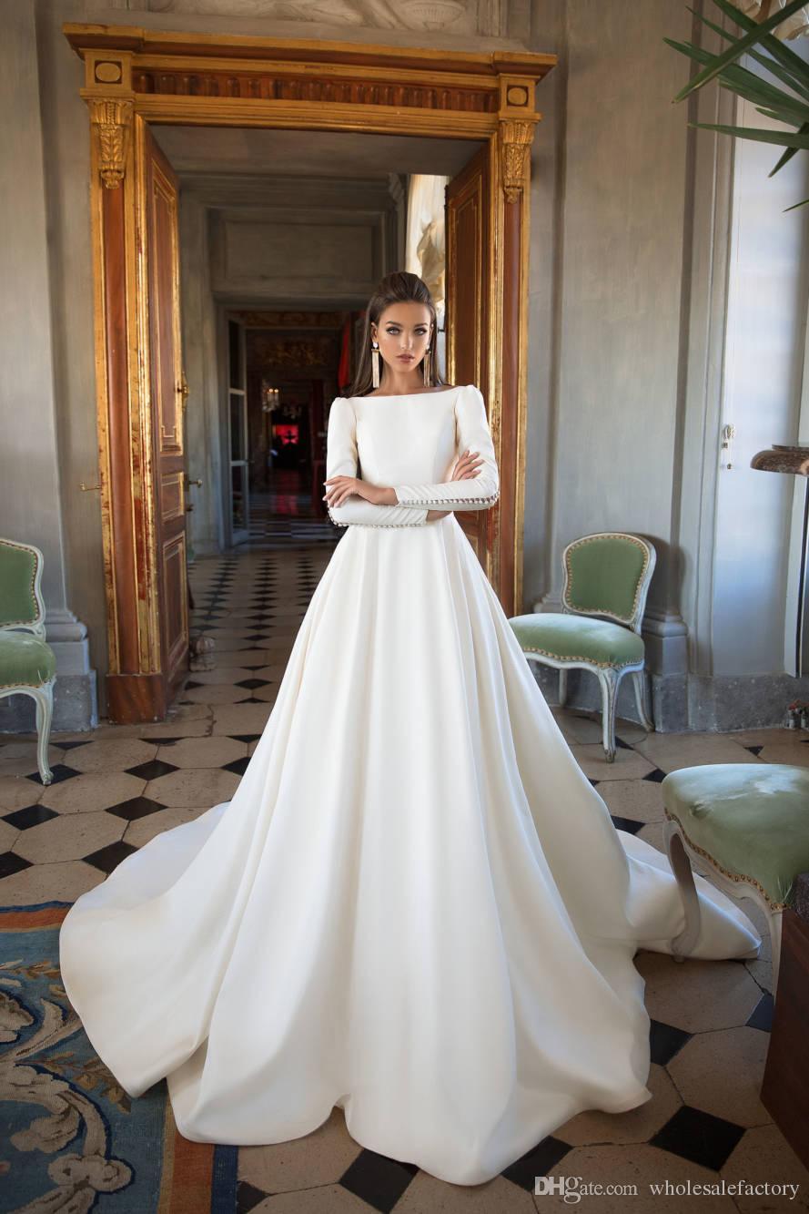 2018 Milla Nova Scoop Neck Long Sleeves Satin A Line Wedding Dresses Low Back Vestios De Novia Wedding Bridal Gowns With Buttons