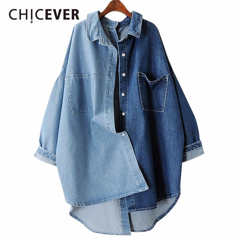 3c82975dd15e7 2019 CHICEVER 2018 Spring Denim Women s Shirts Blouses Tops Long Sleeve  Loose Big Size Women Shirt Clothes Fashion Casual New From Beke