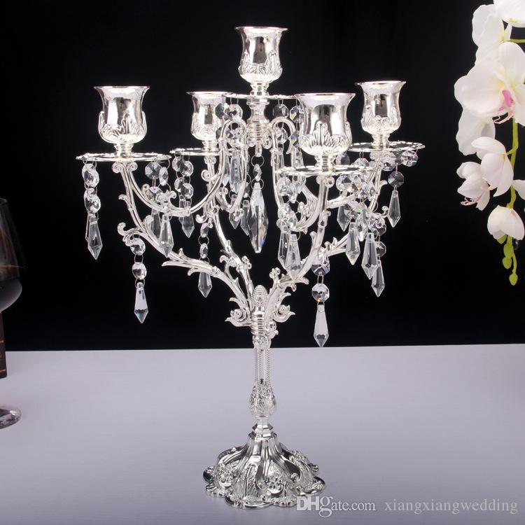 Metal 5 Arm Candelabra Holder Wedding Party Elegant Candle Holder Pretty Table Centerpiece Wedding Decoration Gold Silver 25CM