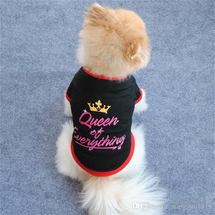 Small Pet Dog Black Cotton Printed Crown Queen T Shirt Short Sleeve Breathable Clothing For Teddy Wholesale