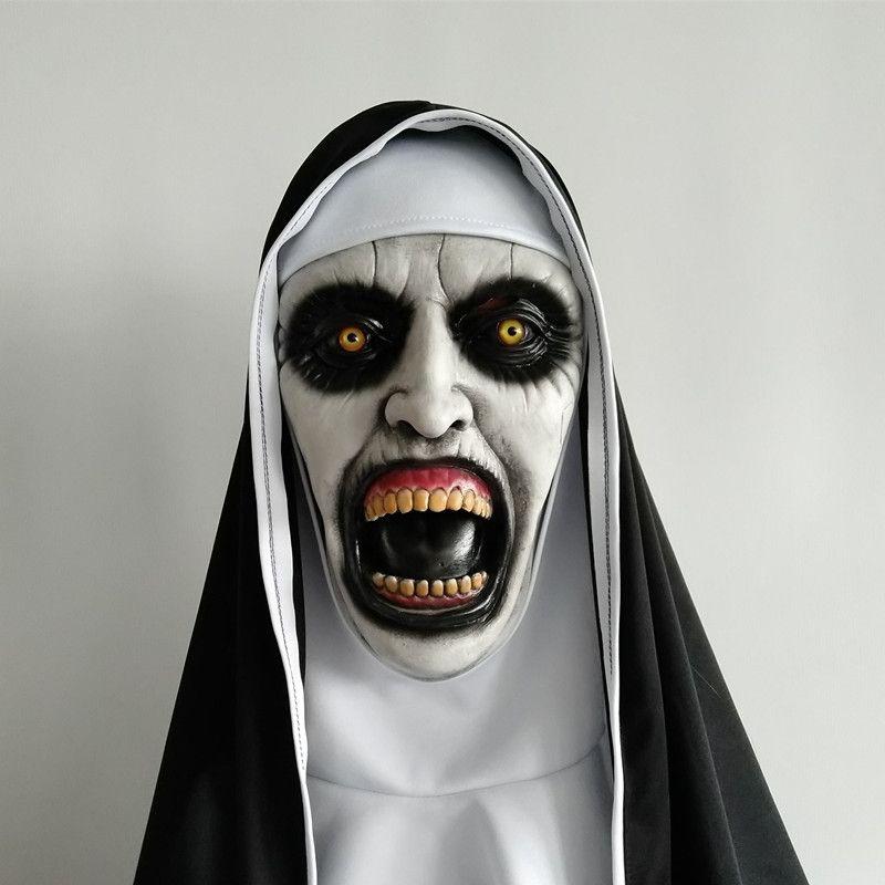 2018 Rahibe Korku Maskesi Cosplay Valak Korkunç Lateks Maskeleri Başörtüsü Peçe Hood Ile Tam Yüz Kask Korku Kostüm Cadılar Bayramı Prop
