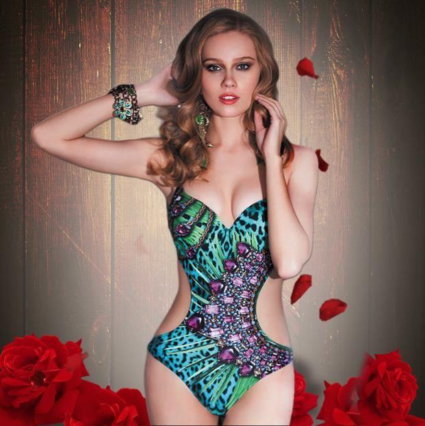 d4aec0bbca 2019 2018 New High End Print Leopard Pattern Sexy Women Swimwear Vintage  One Piece Bikini Push Up Swimsuit Rhinestone Bathing Suit From  Ly topfashion