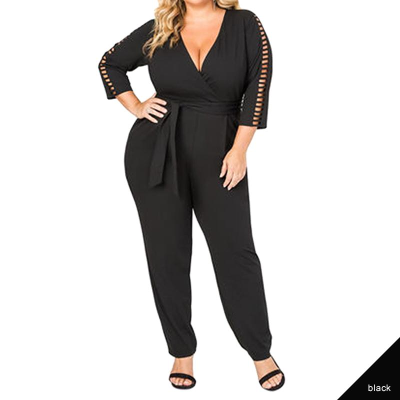 114111fc08d 2019 Women Plus Size Jumpsuits Long Sleeve Deep V Neck Office Wear Black  White Clothes Plus Size Romper Jumpsuit From Piaose