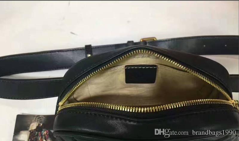 ¡Envío gratis! Bolso de cintura de diseño Bolso de piel de vaca negro Bolso de mujer de bolsos Bolso de cross de cintura de mujer negro rojo