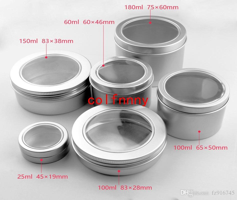 100 unids / lote 25 ml 60 ml 100 ml Aluminio Crema cosmética Crema para ventana, tarros de metal 150 ML, Caja de aluminio 180 ML, Envase de envases de latas