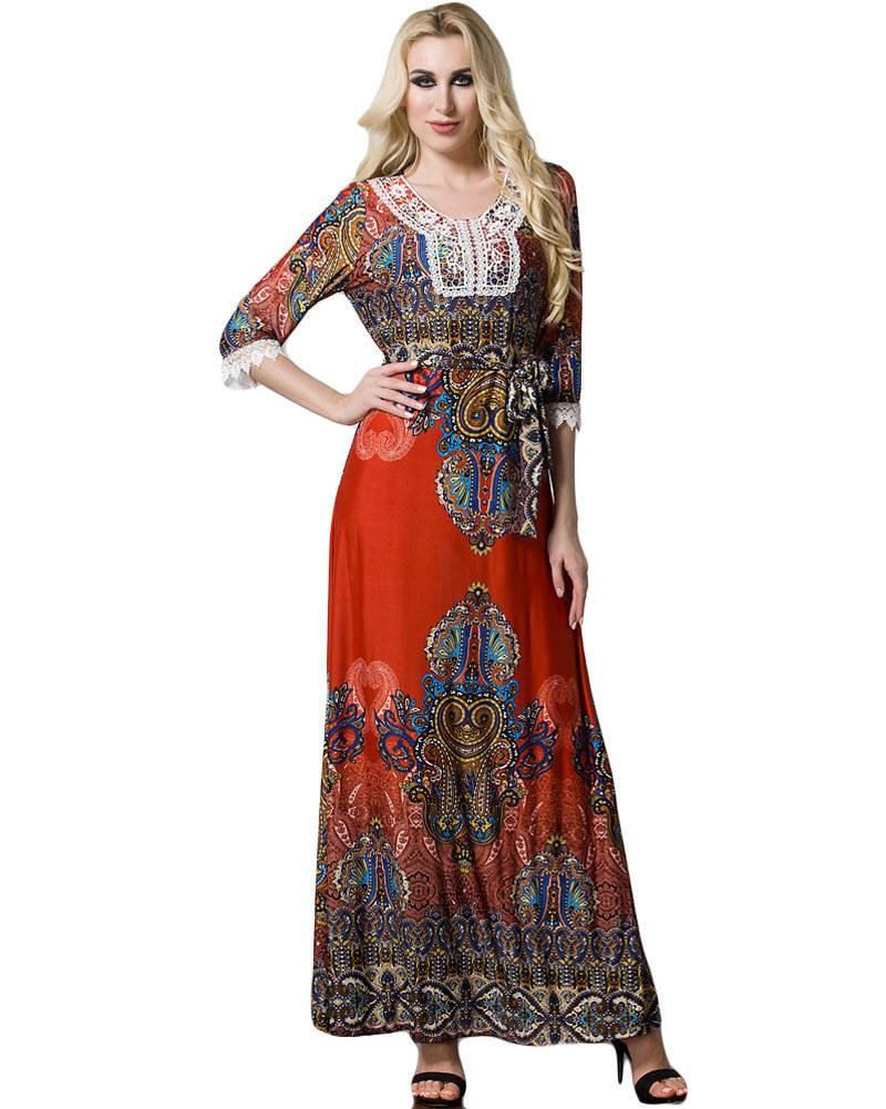 acf845624b7 5XL 6XL 7XL Plus Size Bohemian Dress Women Big Size Maxi Dress Contrast  Print Lace Splice Half Sleeve Belted Beach Long Dress Green Dresses For  Juniors ...