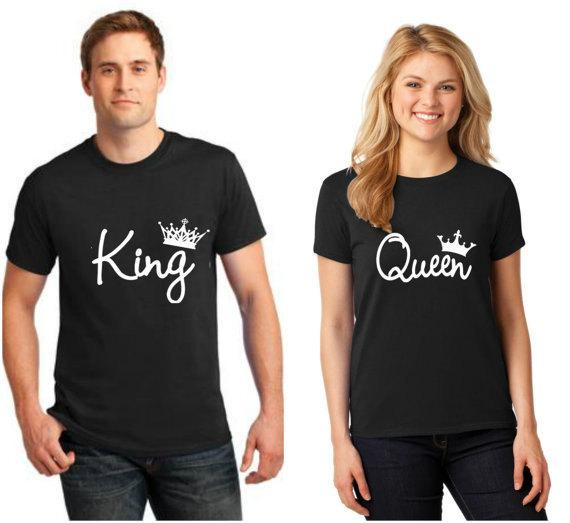 LOVERS T-shirts Women Summer QUEEN Men KING Tees Black Short Sleeved Simple Casual Tops Couples Clothing