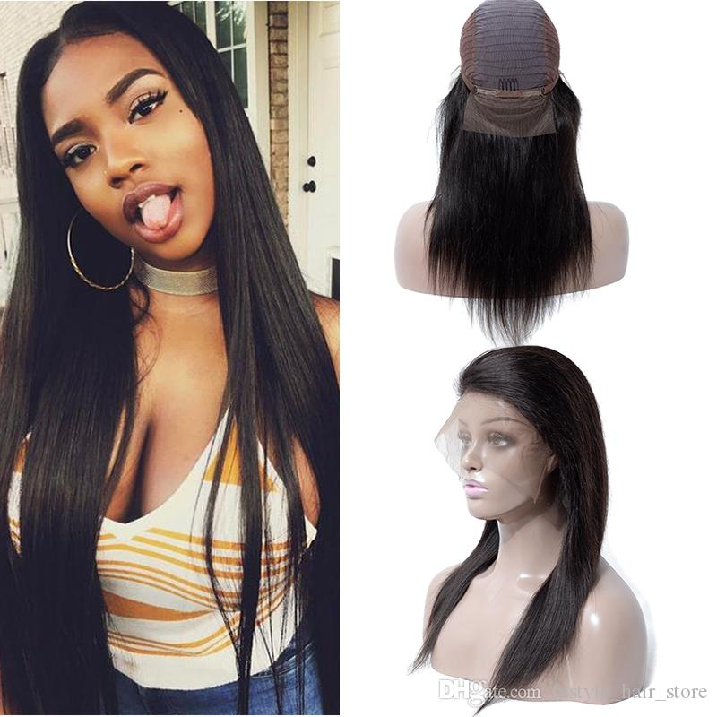 Human Hair Wigs Brazilian Straight Human Hair Lace Front Wigs For Black  Women Unprocessed Indian Peruvian Malaysian Remy Human Hair Wigs Updo Wigs  Large Cap ... acd6bbaa2
