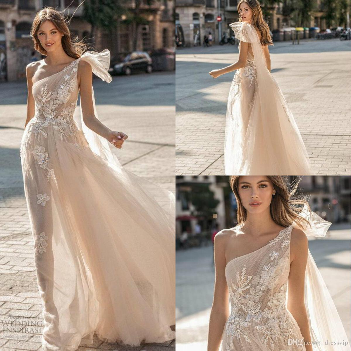 Discount Muse By Berta 2019 Beach Wedding Dresses One Shoulder Lace