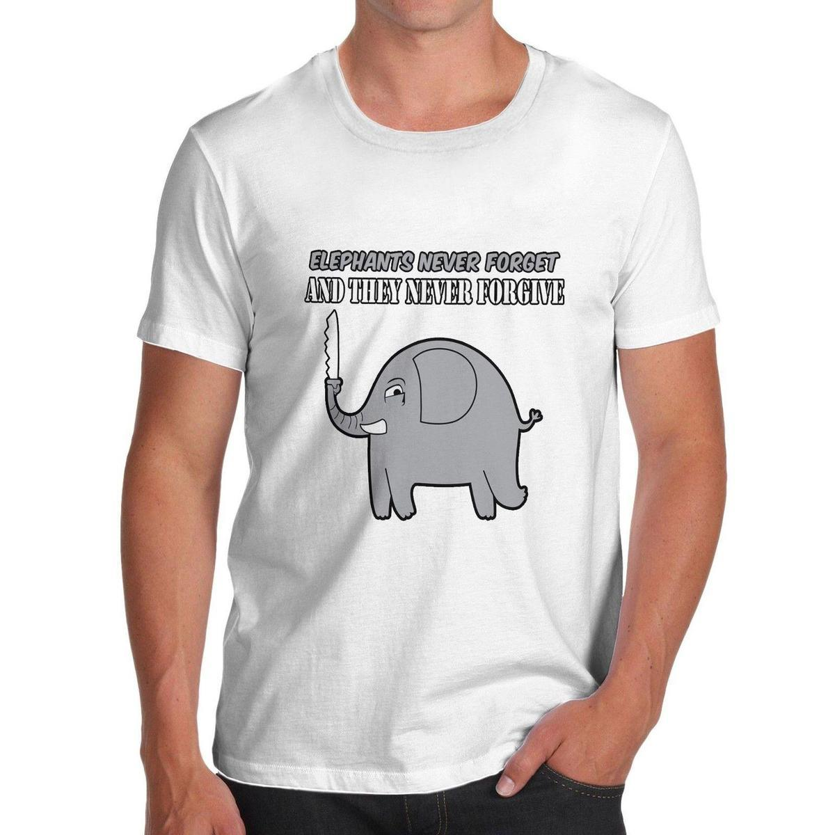7eaaf5ab Twisted Envy Men's Elephants Never Forget And Never Forgive Funny T-Shirt