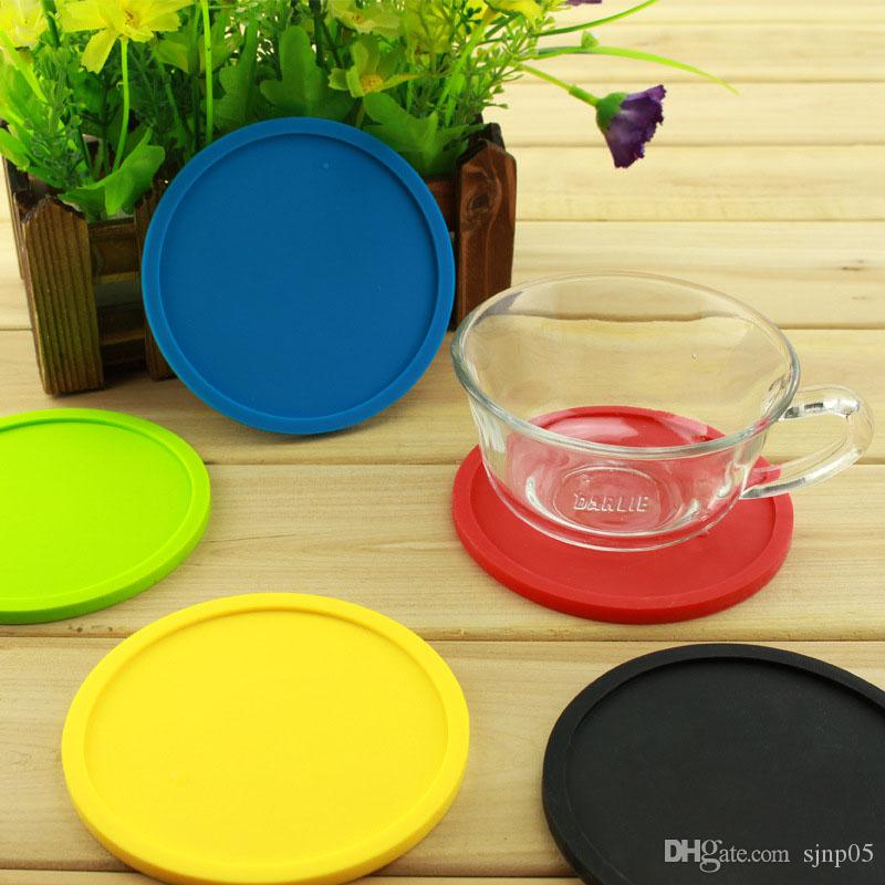 Silicone Drink Coaster Non-Slip Rubber Coasters Cup Dish Mats Raised Lip Catches Water Pot Holder Durable Flexible Home Party Gifts