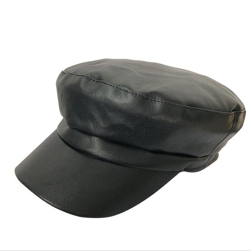 9e717f98ae82e PU Leather Beret Hat Warm Caps For Women Men Painter Newsboy Cap Female  Vintage Beret Winter Black Boinas England Style Hat H3