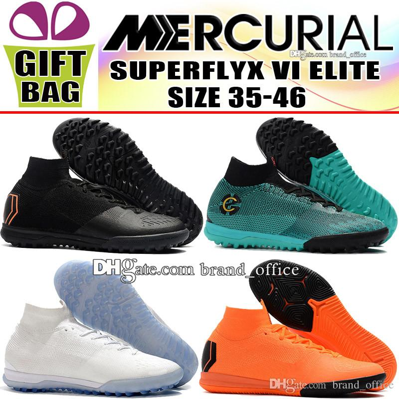 best loved 0f330 7462a 2018 Kids Mercurial SuperflyX VI Elite CR7 Soccer Shoes Women Indoor IC TF  ACC Socks Football Boots Boy Cristiano Ronaldo Turf Soccer Cleats Black  Girl ...