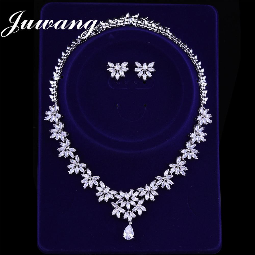 706bb0802851 Compre JUWANG Marca De Lujo Conjuntos De Joyería Nupcial Para Mujer  Bisutería Cubic Zircons Dubai Pendientes De Oro Blanco Collar Conjuntos De  Boda A  34.4 ...
