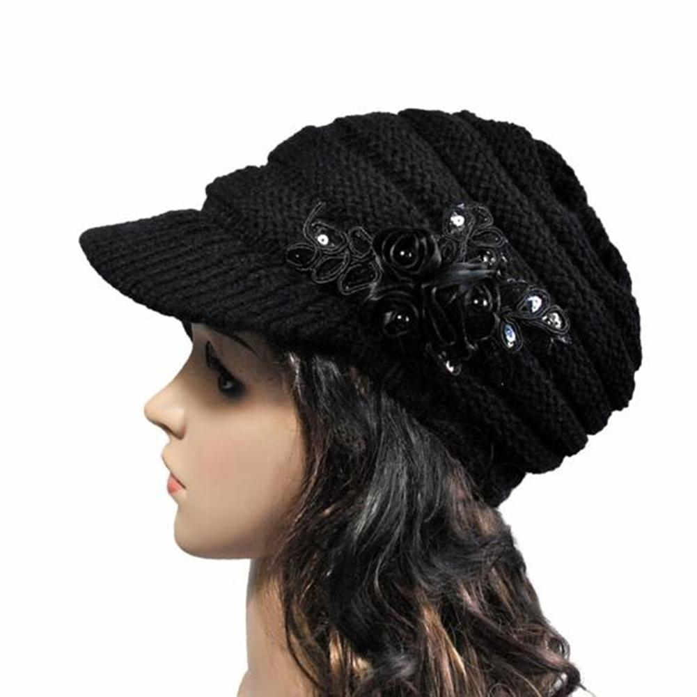 e29eac11287 Fashion Winter Women Woolen Yarn Plain Weave Knitting Sequins Flower Visor Hat  Hat Fashion Hat Hat Hats Plain Online with  26.54 Piece on Junemay s Store  ...