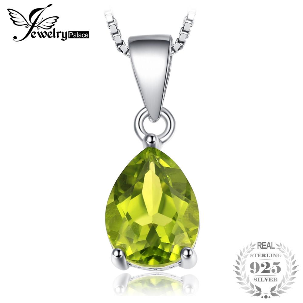 JewelryPalace Water Drop 1.9ct Natural Peridot Pendant For Women Real 925 Sterling Silver Fashion Brand Jewelry New Arrival