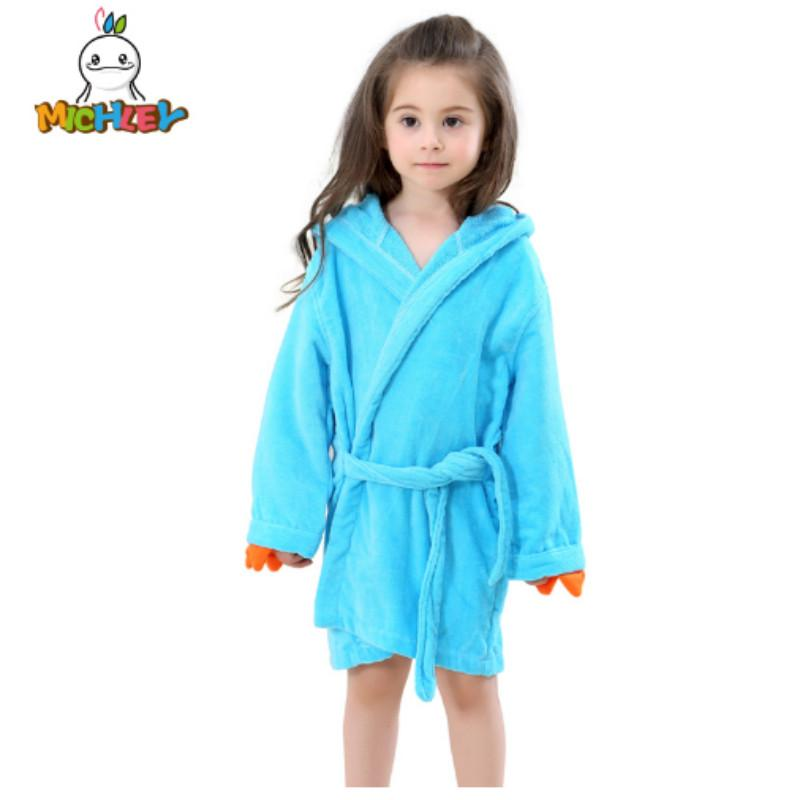 17b90a361c MICHLEY Kids Bath Robes Adorable Baby Girl Roupao Hooded Children S Towel  Cute Dinosaur Bathrobes Beach Swimwear Boy Pajamas Kids Winter Pajamas  Cheap Pjs ...