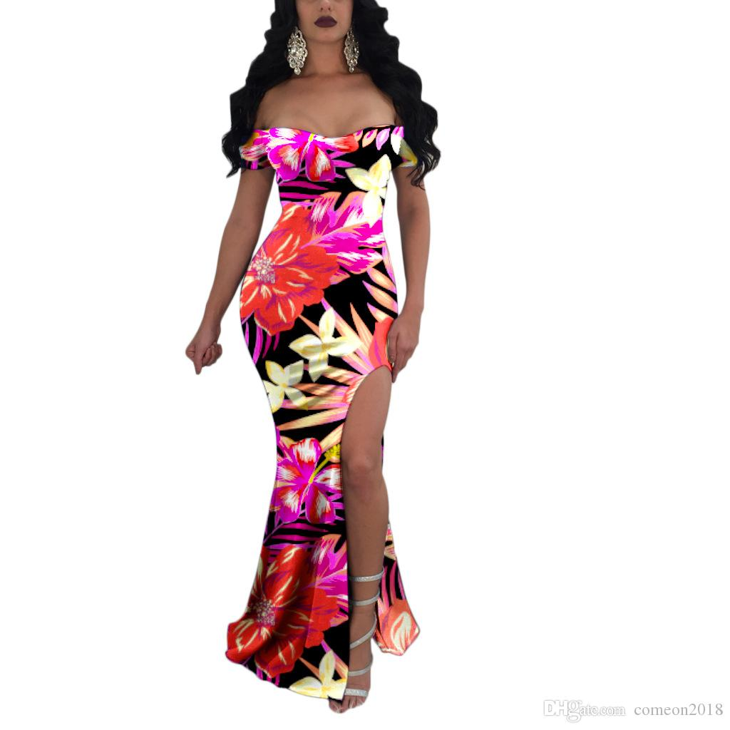 7780c8ffaebde 2018 Women Clothes Bodycon Dress Floral Print Split Sexy Party Mermaid  Dress Summer Slash Neck Graceful Draped Mermaid Maxi Dress Vestido