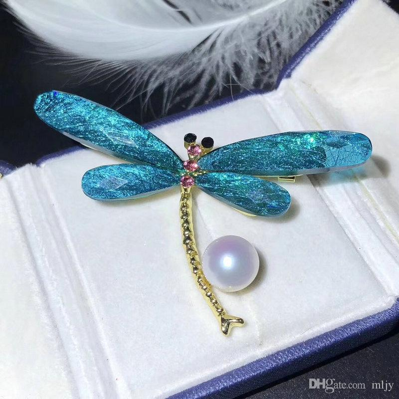 100% Freshwater Pearl Enamel Dragonfly Brooches For Women 8-9mm Pearl Brooch Pins Crystal Insects Brooches Gift