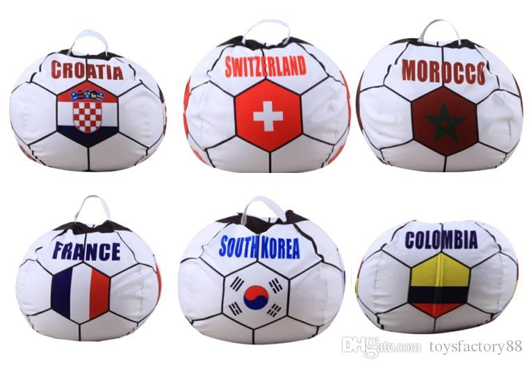 26 inch Russian World Cup Storage Bean Bag Baby Stuffed Animal Football World Cup Pouch Bag Organizer Beanbag
