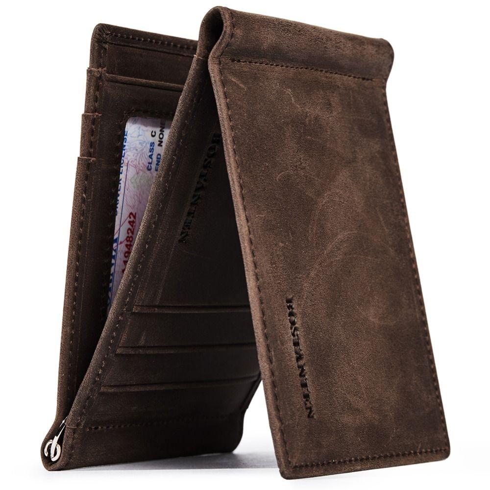 f1ca3b5fafd0 BOSTANTEN Men s RFID Blocking Wallet Genuine Leather Slim Trifold Wallets  Minimalist Card Holder with 2 Money Clips