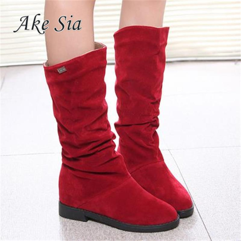 bce7dadc27ca Autumn Winter Women Boots Matte Flock Boots For Female Ladies Height  Increased Low Heel Shoes Woman Mid Calf High Boots F263 Men Boots Red Boots  From Koday