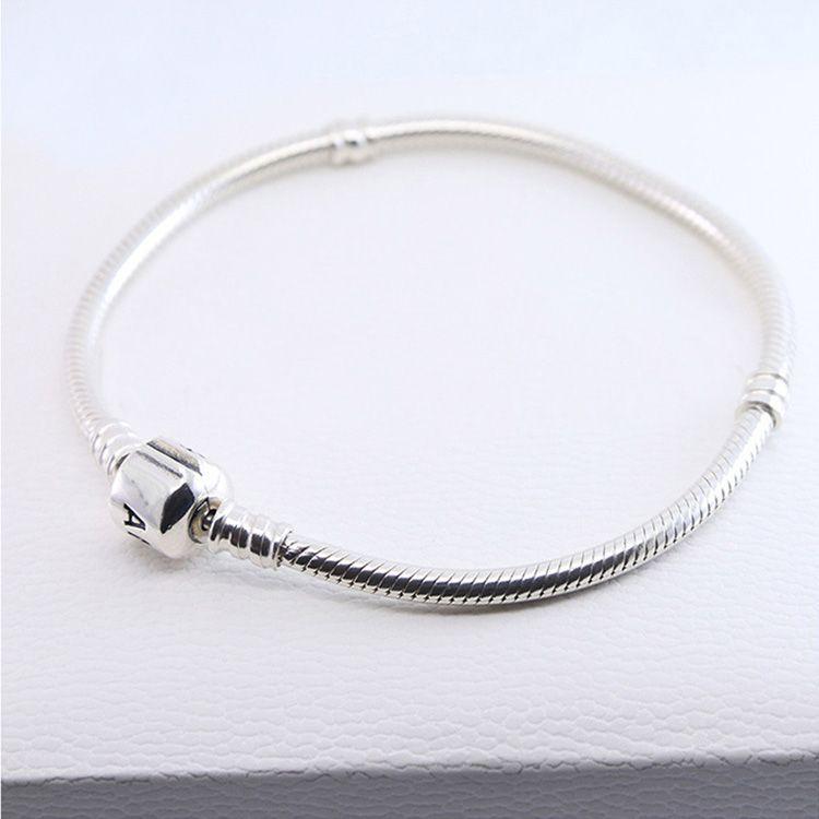 Atacado 925 Pulseiras De Prata Esterlina 3mm Cadeia Cobra Fit Pandora Charme Bead Bangle Bracelet Jóias DIY Presente Para Mulheres Dos Homens