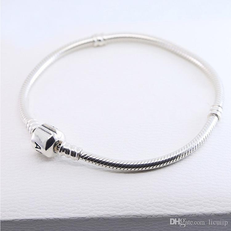 Braccialetti in argento sterling 925 925 3mm catena di serpente in forma Pandora Charm di fascino perlina Braccialetto Braccialetto di gioielli fai da te regalo gli uomini donne