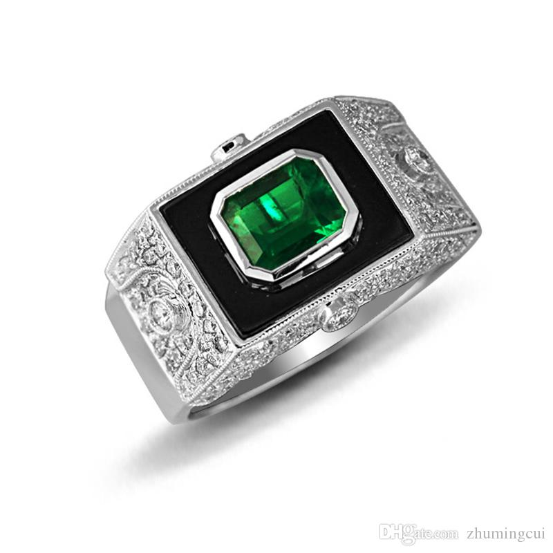 cbb0dc53f3 2019 Derongems Luxury Bezel Set Rectangular Emerald   Agate Gemstone Man  Rings S925 Sterling Silver Green Stones Man Rings Facotry Directly Sales  From ...