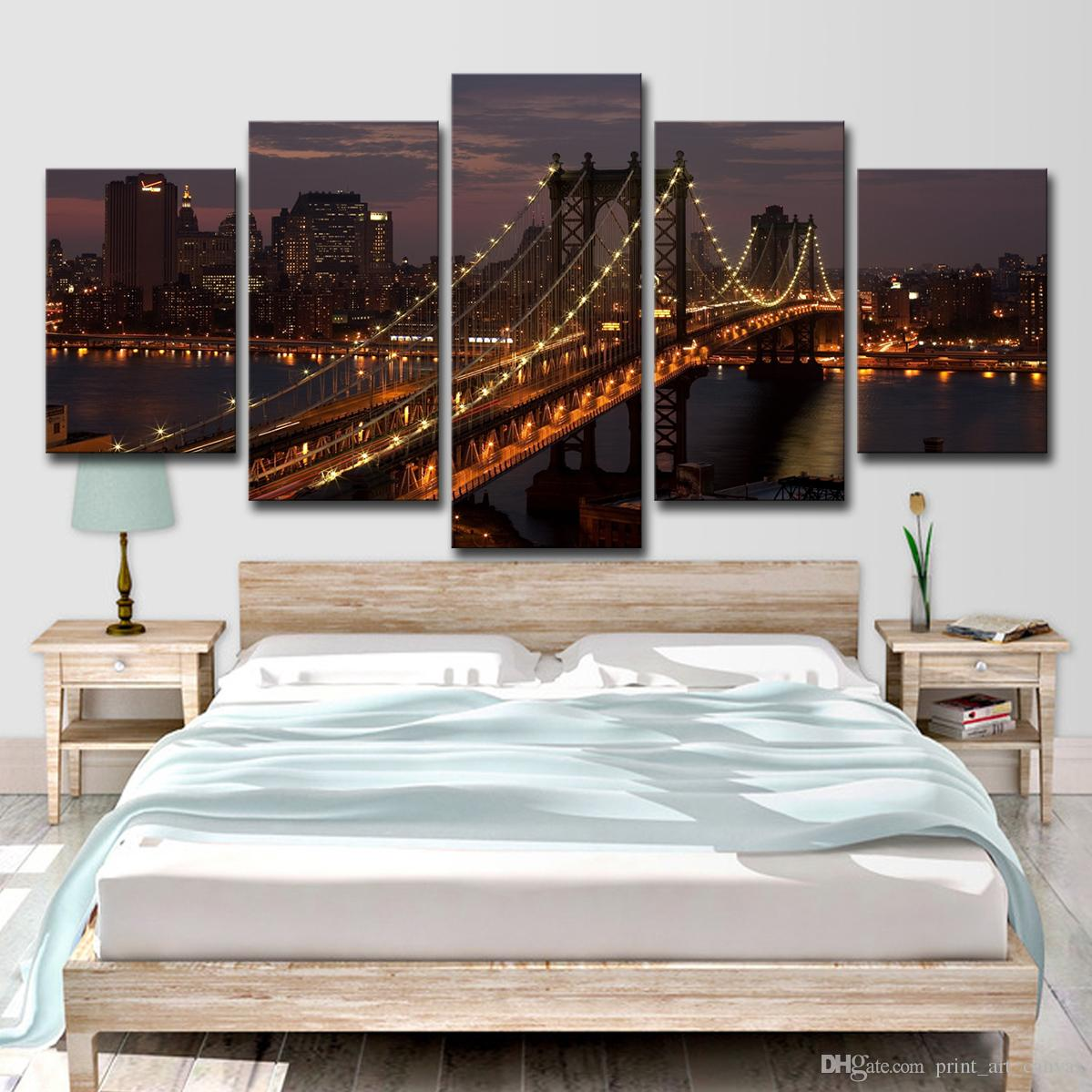 2019 Canvas Paintings Living Room Decor Pictures Manhattan Bridge