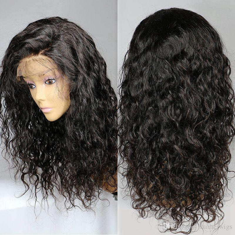 Non transformés Indien Kinky Bouclés Full Lace Wig Glueless Front Lace Perruques de cheveux humains avec des cheveux de Bleach bébé Noeuds pour les femmes noires