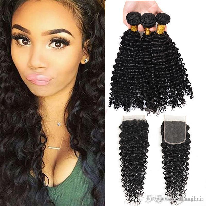 2018 Indian Deep Wave Virgin Human Hair Weaves With Closure