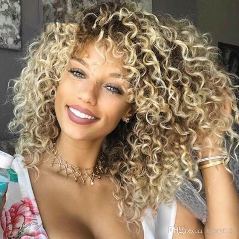 Hair Wigs BOB Blonde Kinky Curly Synthetic Lace Front Wigs Japanese Heat Resistant Fiber Blonde Kinky Curly Synthetic Front Lace Wig FZP17