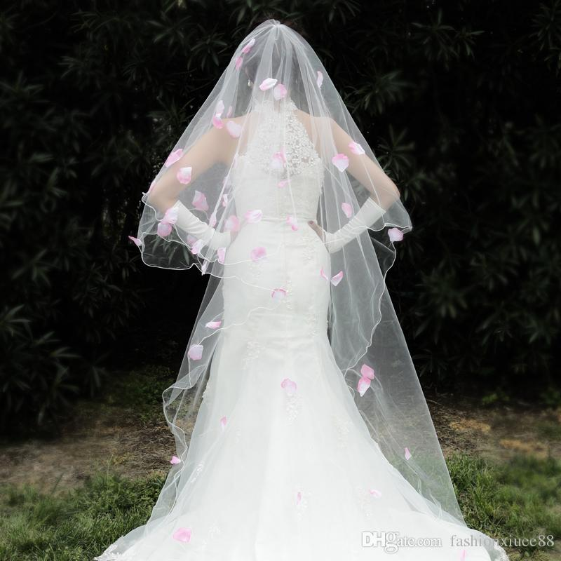 Elegant White Pink Petalage Cathedral Lace Wedding Veil No Comb For Bridal Gown Cheap Price Bridal Veils 2018