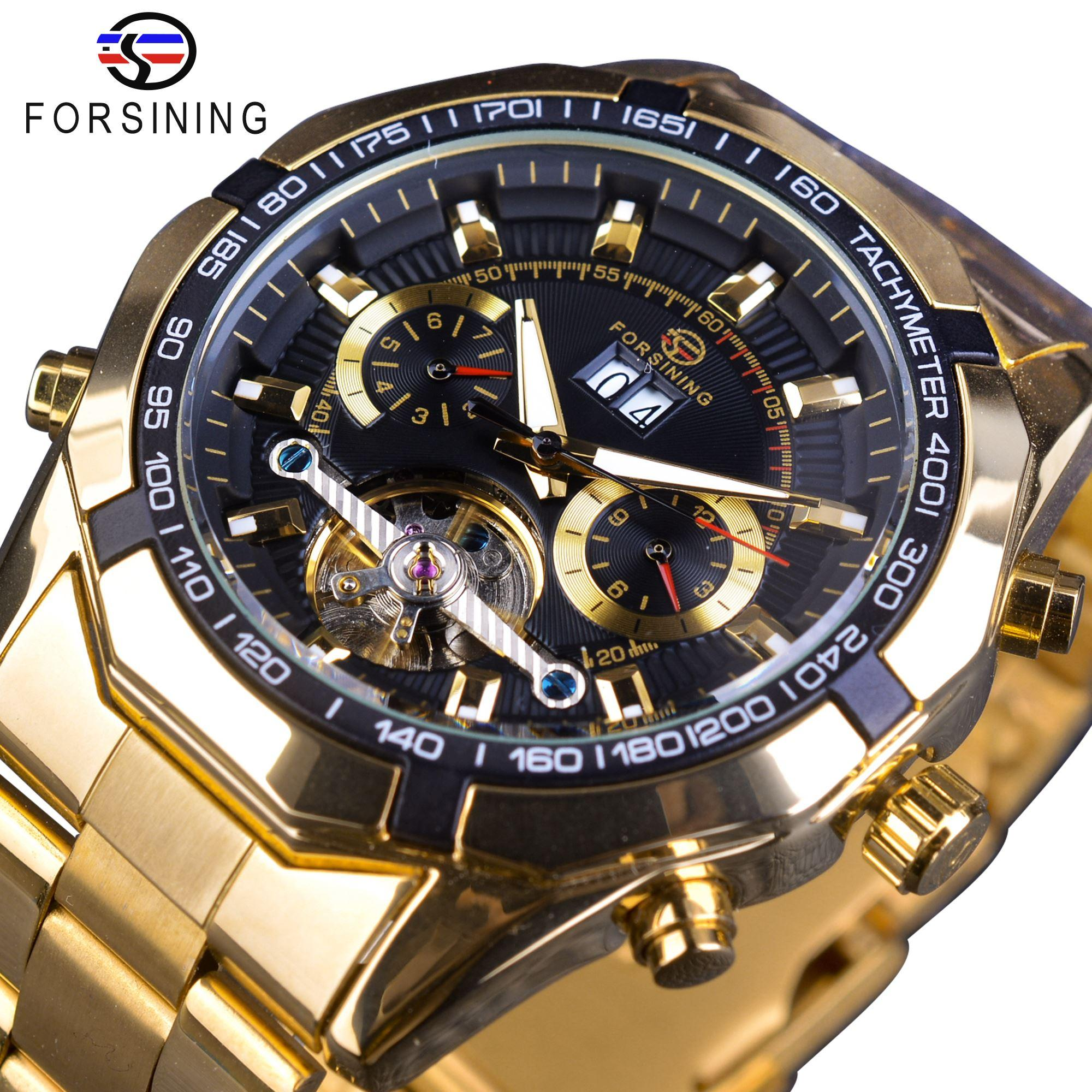 Orologio Calendario.X Forsining Orologio Meccanico Da Uomo Top Brand Luxury Golden Bracelet Business Orologio Calendario Display Quadrante Nero Design Tourbillon