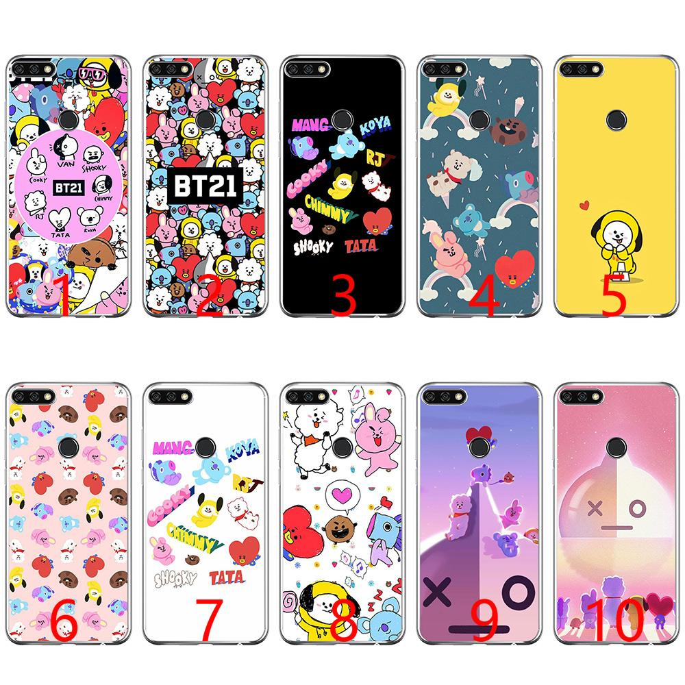 free shipping ada53 717d5 BTS BT21 beau Dessin Soft Silicone Phone Case for Huawei P8 P9 Lite 2015  2016 2017 P10 20 Lite P Smart