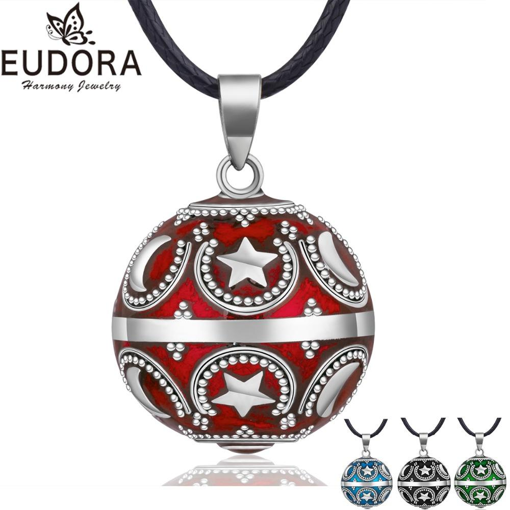 EUDORA Harmony Ball Necklace Star Moon Chime Bola Pendant for Women Fashion Jewelry Gift Mexican Pregnancy Ball 45'' Chain