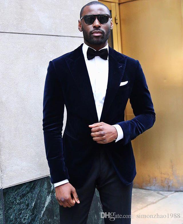 Acheter Style Décontracté 2018 Custom Made Classic Bleu Marine Velours  Blazer Marié Smokings Costumes Pour Hommes Avec Des Pantalons Slim Fit  Culotte De ... 87b7cc1c1c9