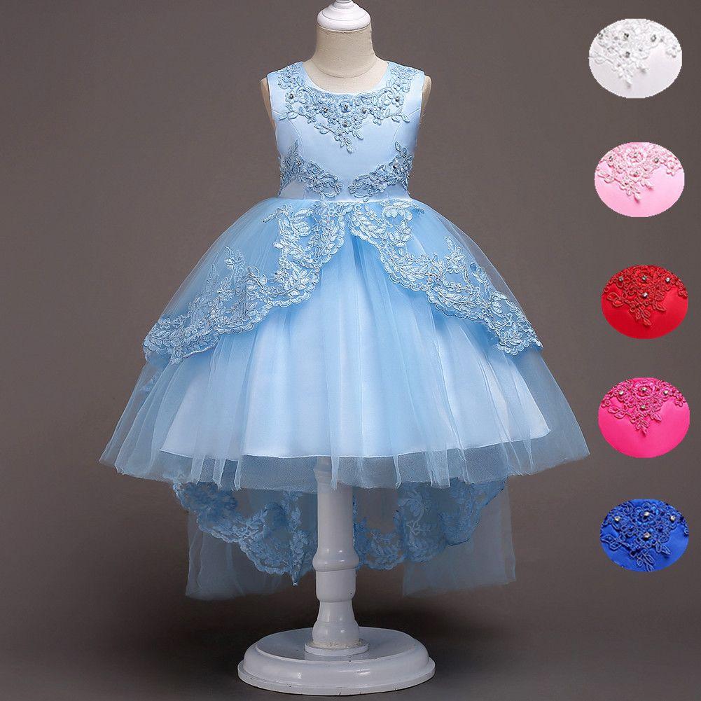 fffc5a104b26 High Low Lace Flower Girls Dress Wedding Teens Prom Party Perform ...