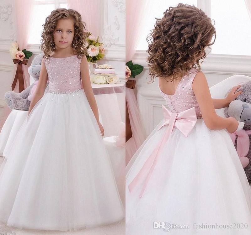 3df30ad1d1f 2018 Princess Flower Girls Dresses For Weddings Jewel Neck Sleeveless  Crystal Beaded Bow Sashes A Line Tulle Girls Pageant Kids Prom Gowns Cheap  Flower ...