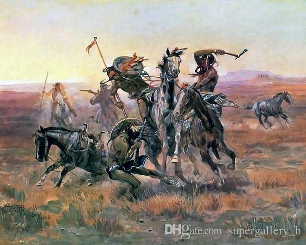 Souix & Blackfoot Indian Battle Fight Painting Real Handpainted & HD Print  Relism Art oil painting On Canvas Multi size h04