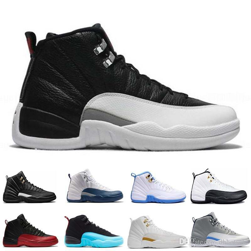 1259cde59f83 2018 Basketball 12 12s Mens Playoffs Taxi The Master Flu Game Gym Red White  Wolf Grey University French Blue Sport Sneakers US 8 13 Kevin Durant  Basketball ...